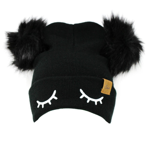 Embroidered Eyelashes Double Pom Beanie Hat
