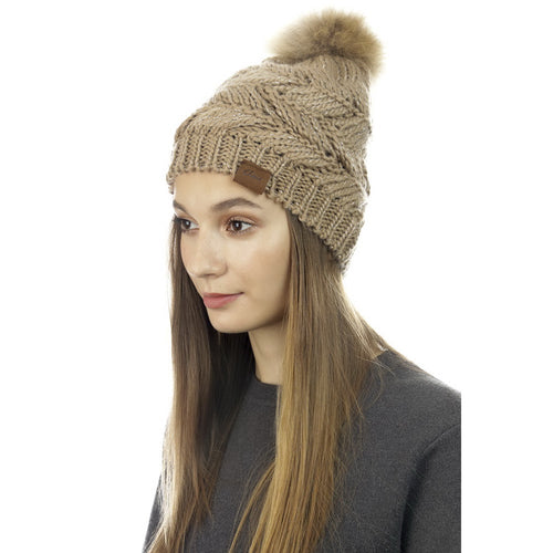 CLOIE Arrow Pattern Knit Pom Pom Beanie