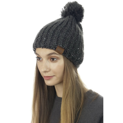 Sequin Embellished Knitted Pom Pom Beanie