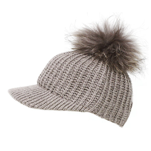 CLOIE Knitted Baseball Hat With Real Fur Pom