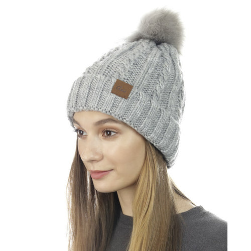 CLOIE Braided Knit Beanie With Faux Fur Pom Pom