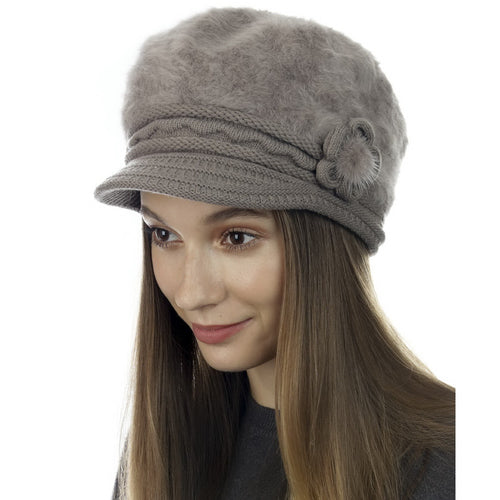 CLOIE Knitted Fuzzy Newsboy Hat With Side Flower