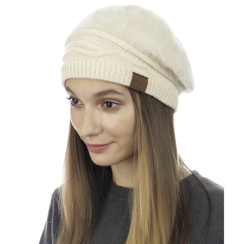 CLOIE Fuzzy Beret With Knitted Stretch Band
