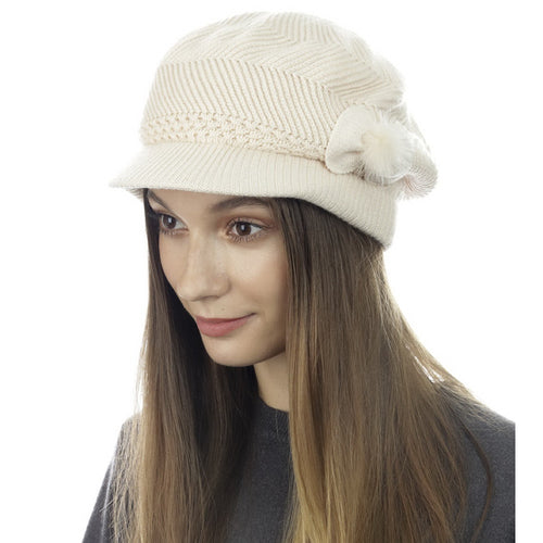 CLOIE Knitted Newsboy Hat With Side Bow