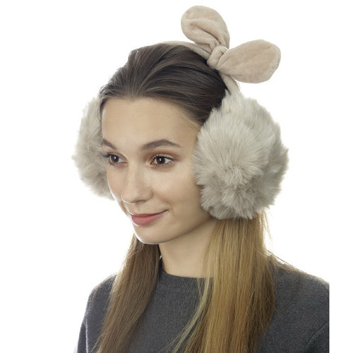 Faux Fur Earmuffs With Fleece Bow