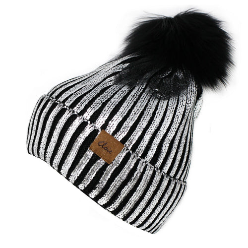 CLOIE Foil Printed Ribbed Beanie With Real Fur Pom