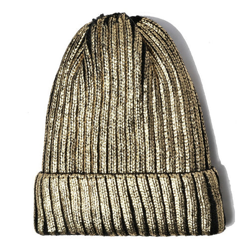 CLOIE Metallic Ribbed Beanie With Fleece Lining