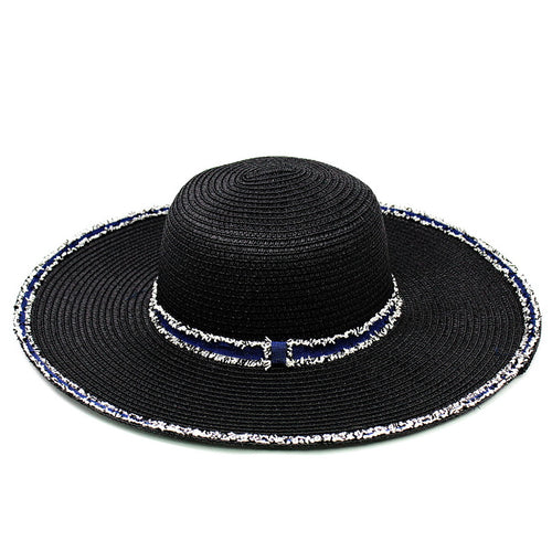 Denim Trimmed Straw Floppy Hat