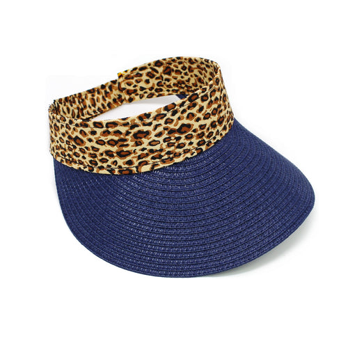 Animal Print Ribbon Straw Visor Hat
