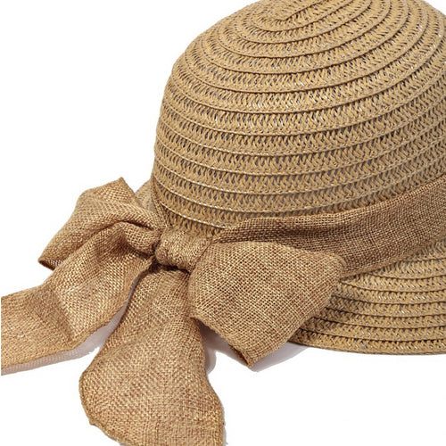 abbff1bb Wide Cotton Ribbon With Bow Tie Straw Sun Hat