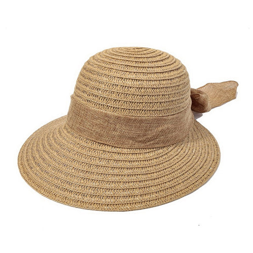 PRE-ORDER Wide Cotton Ribbon With Bow Tie Straw Sun Hat