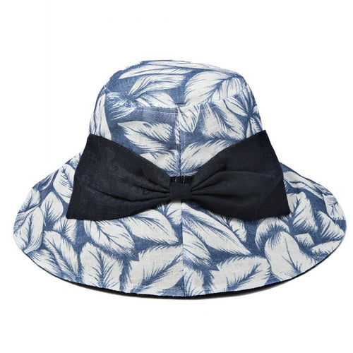 PRE-ORDER Leaf Print Sun Hat With Decorative Bow