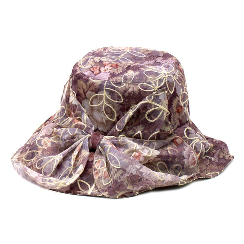Embroidered Chiffon Layered Sun Hat With Decorative Bow