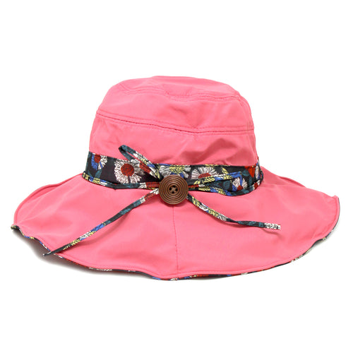 Flower Print Under Brim Sun Hat With Decorative Bow
