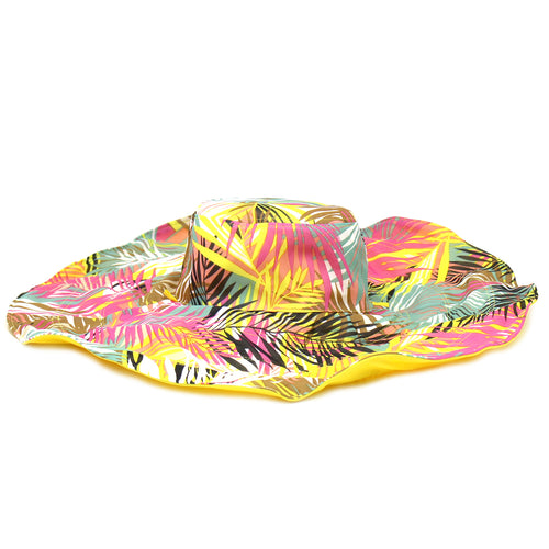 Tropical Print Reversible Floppy Hat With Decorative Bow