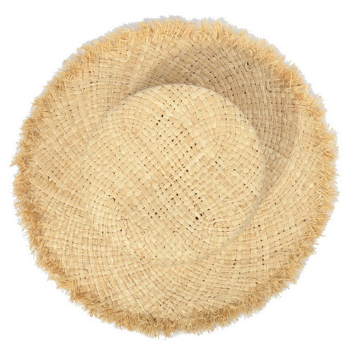 Fringed Edge Straw Boater Hat