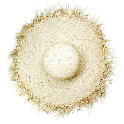 Oversized Straw Floppy Hat With Raw Edge