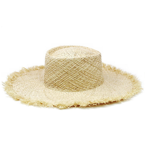 Fringed Straw Floppy Hat