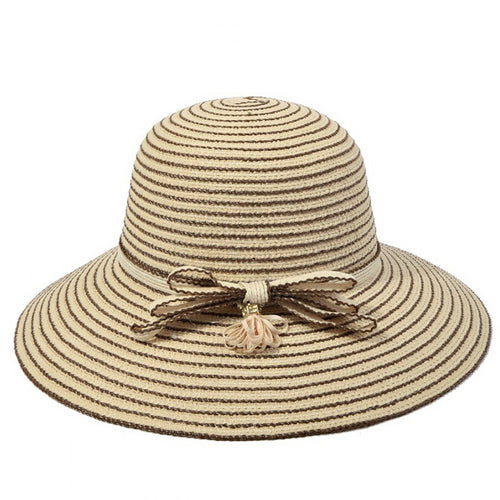 Striped Sun Hat With With Decorative Triple Bow