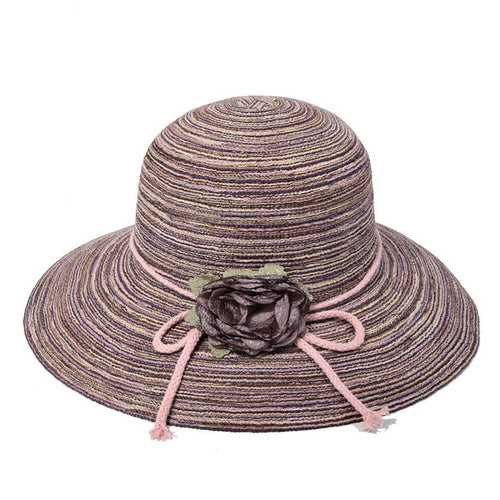 Sun Hat With With Decorative Flower