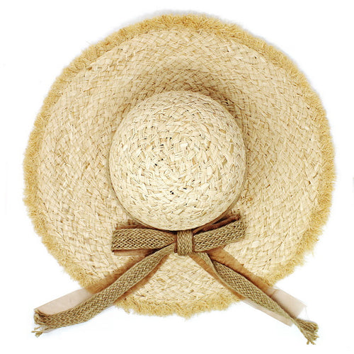 Fringed Paper Floppy Hat With Jute Bow
