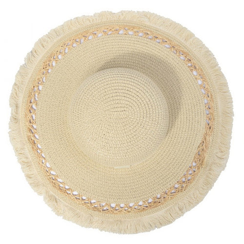 PRE-ORDER Fringed Floppy Hat With Decorative Ribbon