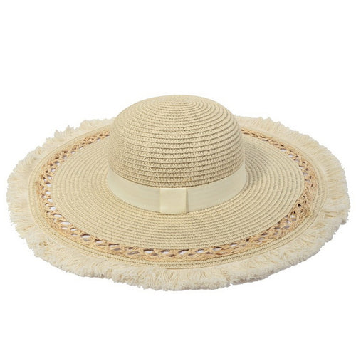 Fringed Floppy Hat With Decorative Ribbon