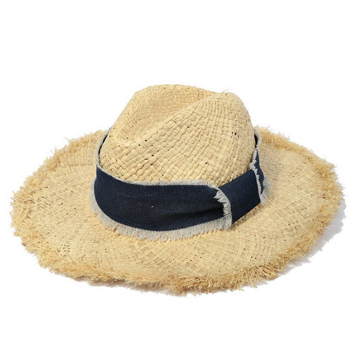 Fringed Straw Hat With Decorative Denim Ribbon