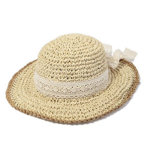 Straw Bucket Hat With Decorative Lace Ribbon