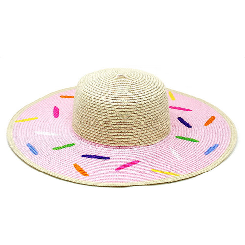 Sprinkled Donut Straw Floppy Hat