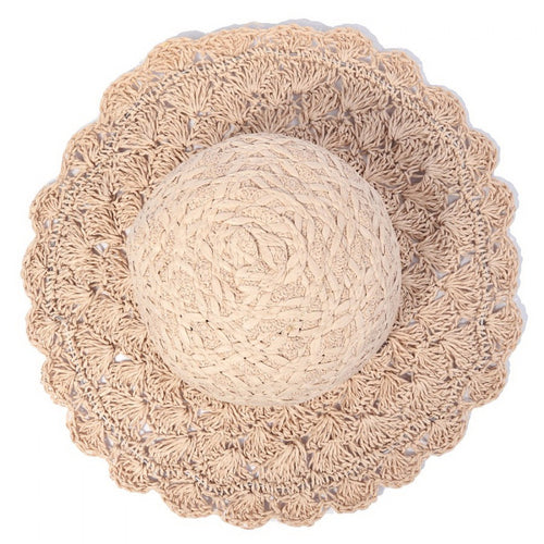PRE-ORDER Straw Bucket Hat With Crochet Brim