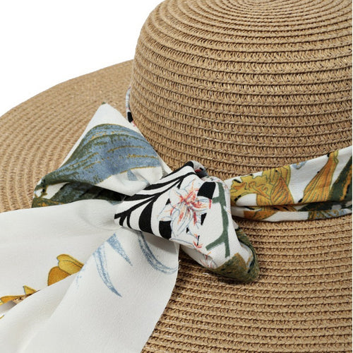 PRE-ORDER Summer Straw Floppy Hat With Decorative Floral Scarf