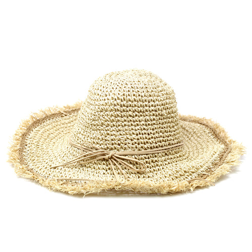 Fringed Crochet Straw Sun Hat With Decorative Bow
