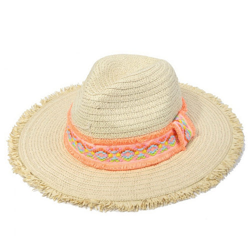 Fringed Straw Panama Hat With Embroidered Ribbon