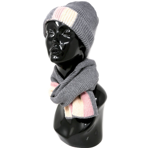 Color Block Ribbed Beanie & Scarf Set