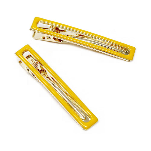 Enamel Coated Rectangular Alligator Hair Clip Set (Small)