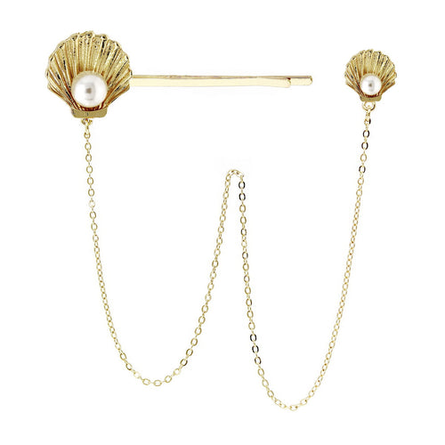 Shell Bobby Pin And Stud Earring Set