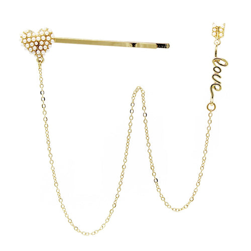 Heart Bobby Pin And Love Stud Earring Set