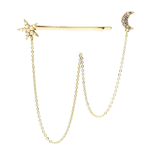Star Shape Bobby Pin And Crescent Stud Earring Set
