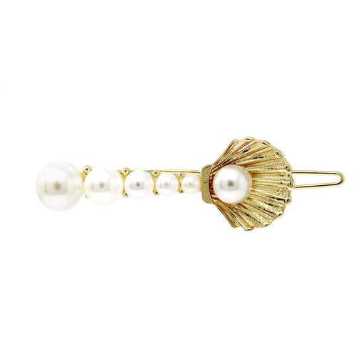 Metal Shell Pearl Beaded Snap Hair Clip