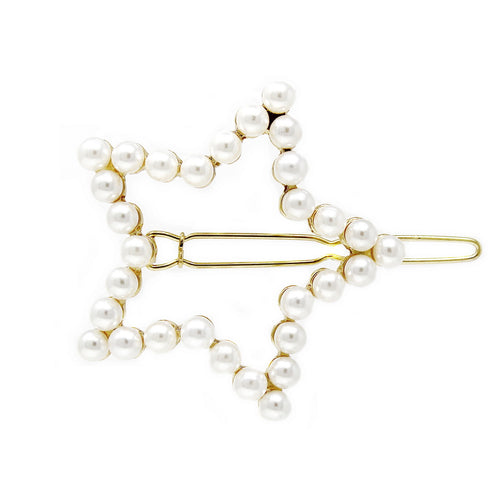 Large Pearl Beaded Star Shape Snap Clip