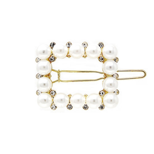 Glass And Pearl Beaded Rectangular Shape Snap Clip