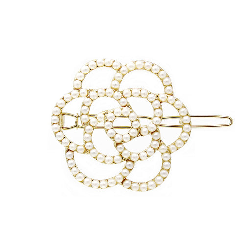 Pearl Beaded Flower Snap Clip