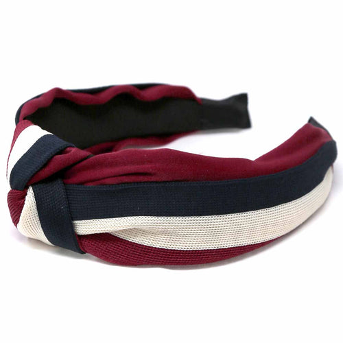 Front Knot Detail Color Stripe Ribbed Headband