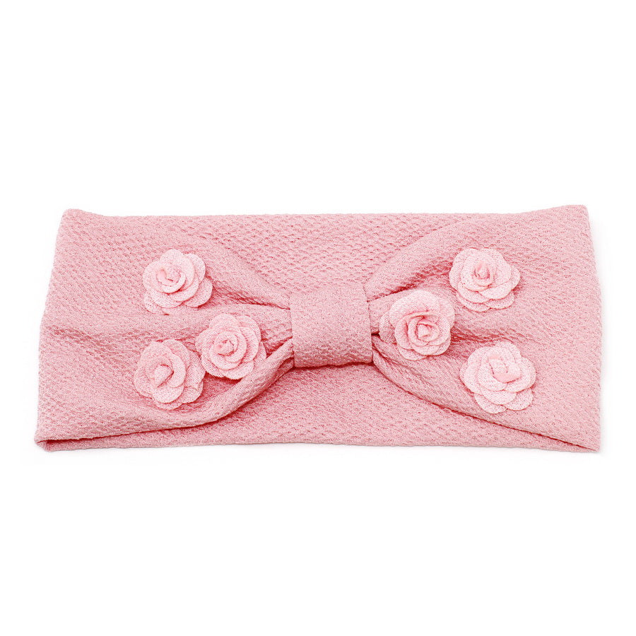 Flower Embellished Front Knot Stretch Headband
