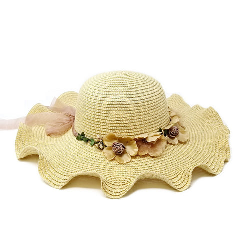 Sun Hat With Flower Wreath And Ribbon Bow