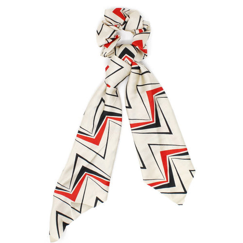 Abstract Print Silky Scarf Ponytail Holder