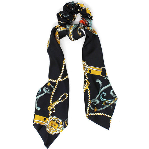 Rope Print Silky Scarf Ponytail Holder