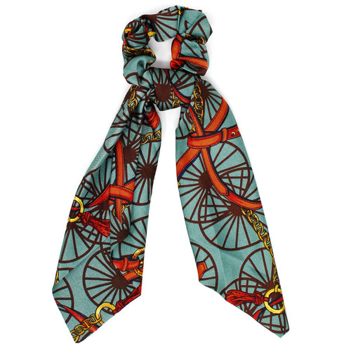 Wheel And Belt Print Silky Scarf Ponytail Holder