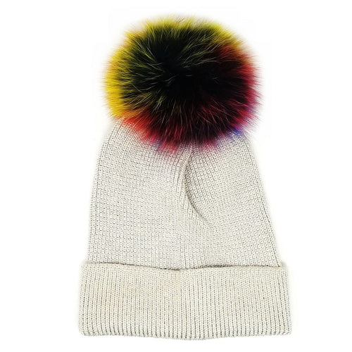 Metallic Thread Beanie With Real Fur Rainbow Pom Pom